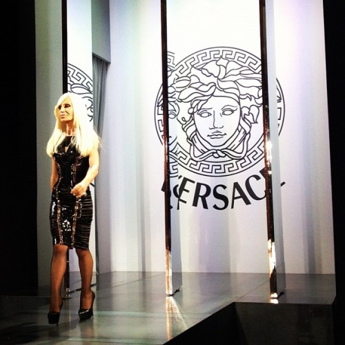 Donatella takes a bow at Atelier @Versace (Taken with Instagram)