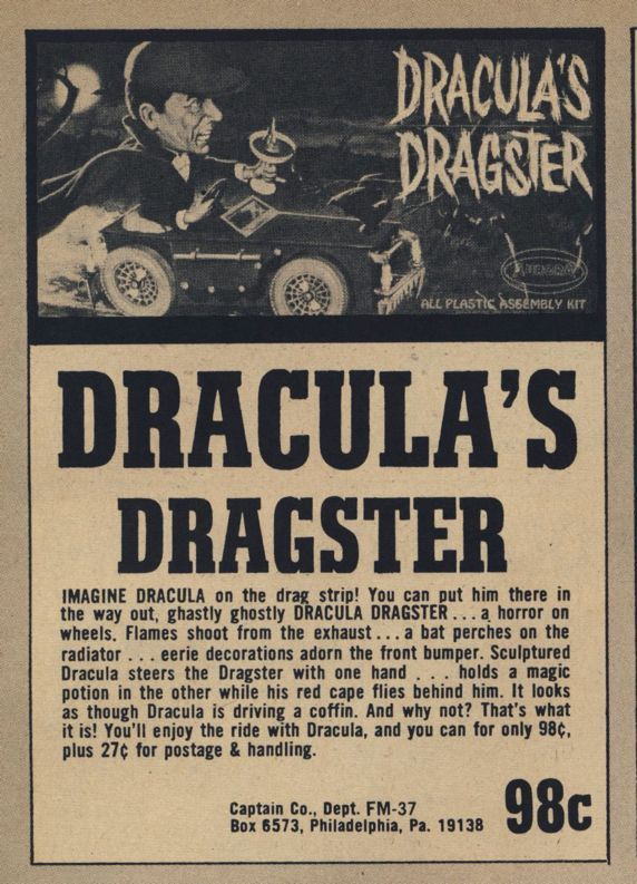 cryptofwrestling:  Dracula's Dragster ad from Captain Company  A HORROR ON WHEELS!