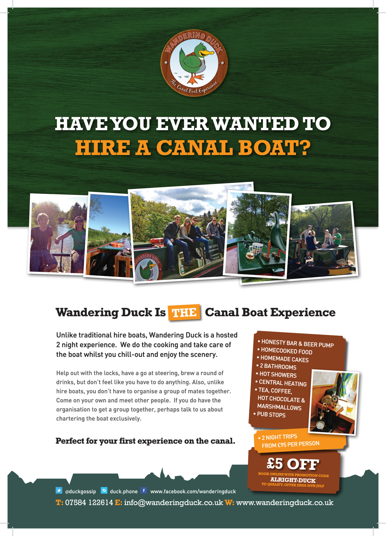 Fun advert design for canal boat in North West England