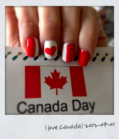 Happy Canada Day!  Design via 'cutepolish' (see: http://www.youtube.com/watch?v=NOhOn0yV37U&sns=em)  Essie 'Olé Caliente' for the vibrant red