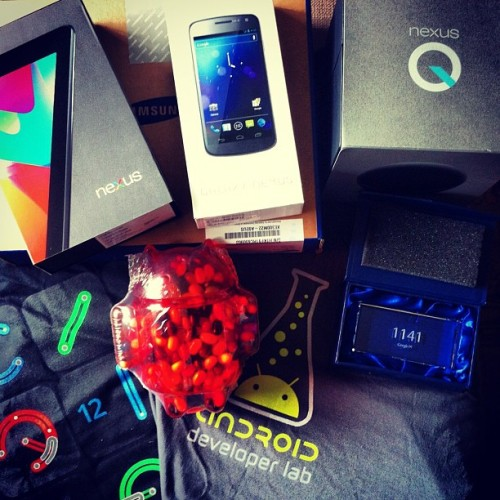Finally got a chance to go through my #loot from #GoogleIO. #Swag #HumbleBrag #GadgetPorn #io12 #xproII #lux (Taken with Instagram at Moscone West)