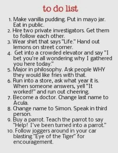 dreameerfunny:  lmaooo… To Do List..