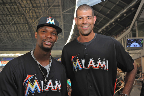 Shane Battier and Chris Bosh of the NBA Champion Miami Heat visit Marlins Park! #BaseballMiamiStyle!