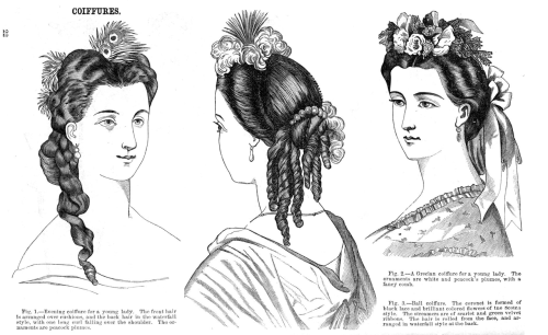Hairstyles (evening, Grecian, ball), Jul 1864 US, Godey's Lady's Book