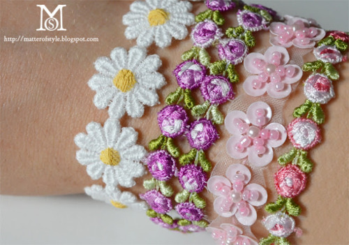 DIY Trim Bracelet Tutorial from A Matter of Style here. I love seeing tutorials that give you options and tips on how to make jewelry your own. *Velcro would be another option for a bracelet closure.