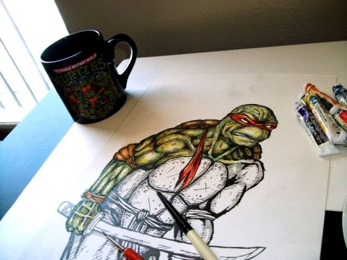 evan-patrick-o:  This has been my day thus far. Painting, coffee, and Teenage Mutant Ninja Turtles really put me at peace. I'm sure the pain medication I just took due to the removal of my wisdom teeth has a little something to do with my level of relaxation also.