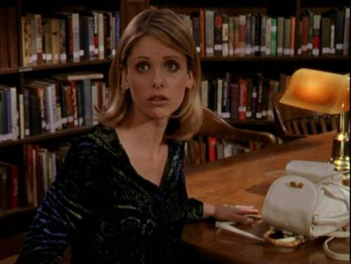 What Would Buffy Wear?: Remember the Library? I Miss the Library… A crushed velvet v-neck, long-sleeved top that looks like a funky zebra/floral pattern of black blue and green. Whatever floats your boat, Buff. It was the '90s, crushed velvet wasn't illegal back then.