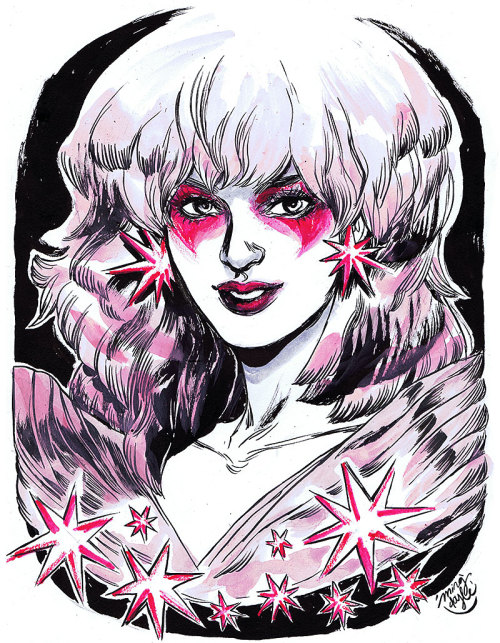 jemandtheholograms:  mingdoyle:  HeroesCon pre-commission: Jem, minus The Holograms.  We interrupt this techrat weekend because MING DOYLE DREW JEM. You must love Ming Doyle. I know I do.