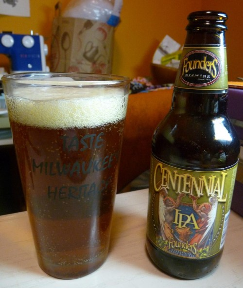 Founders | Centennial IPA | 7.2% ABV IPA Bottled 2/22/2012 Smells great, very floral. Bitter, dank and a little sweet. Wasn't the freshest IPA, but still pretty solid. Founders has so many other better beers though. Reminded me of Sierra Nevada Torpedo - yeah probably different hops or something, go ahead write and complain that I can't tell the difference. Rating: 5/10 Price: $7.99/6pack -Steven