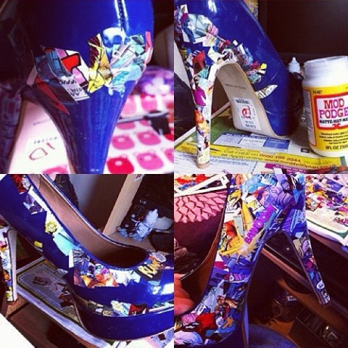 graceoon:  #DIY #comic #heels #shoes #art #hobby (Taken with Instagram)