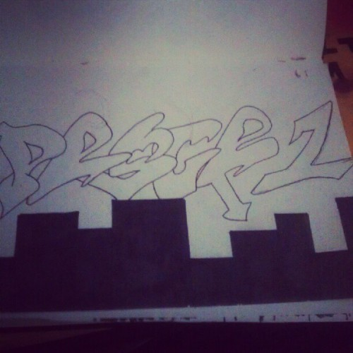 Workin on somethin ill #graffiti #pesce1 #peace #onelove #dope #taggin #art #throwup #throwie #tagging #sharpie #copic #ill #fire  (Taken with Instagram)
