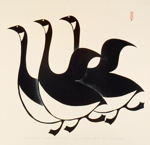 Innukjuakju Pudlat (1913-1972), Three Canada Geese, 1960, National Gallery of Canada. Happy Canada Day!
