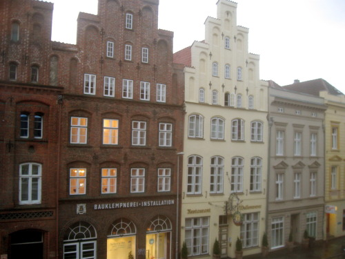 Some buildings in Lübeck I can see from the apartment window. There's a beautiful church down the street I can see from my window that I'm hoping to see tomorrow. I'm too tired to take more pictures, I'll take better ones and post them this week :)