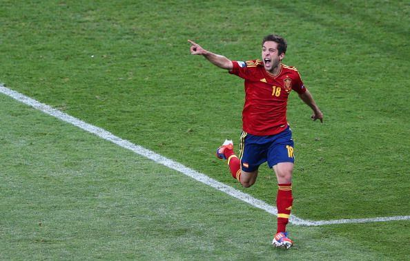 Jordi Alba after scoring the 2nd goal for Spain.