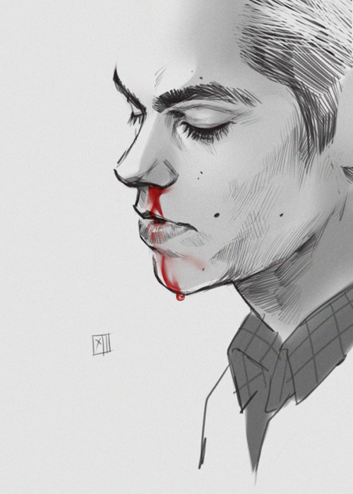 "veritasst:  fallenfar:  Gorgeous bloody Stiles art from Creature13. She/he has been drawing some of my favorite Teen Wolf art so far. Talented girl/guy.  Stiles closes his eyes as Derek advances with the antiseptic, a grimace on his face as he reaches out and curls his hand around the back of Stiles's neck.  It stings, cold and biting, as Derek dabs at Stiles's nose, wipes down over his lips, under his chin, his fingers stroking the hair at the nape of his neck.   ""Idiot,"" he mutters and Stiles opens his eyes to a worried look in Derek's, ""dont try and protect me again ok?""  ""Why?"" Derek throws the piece of cotton wool onto the floor and sighs.   ""Because…just don't ok?"""