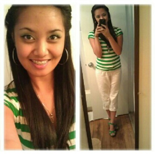 #green!:) #sunday #church #ootd #derekheart #white #capris #striped #vneck #vintagehair #eyeshadow #qupid #heels #dogtags #militarywife  (Taken with Instagram)
