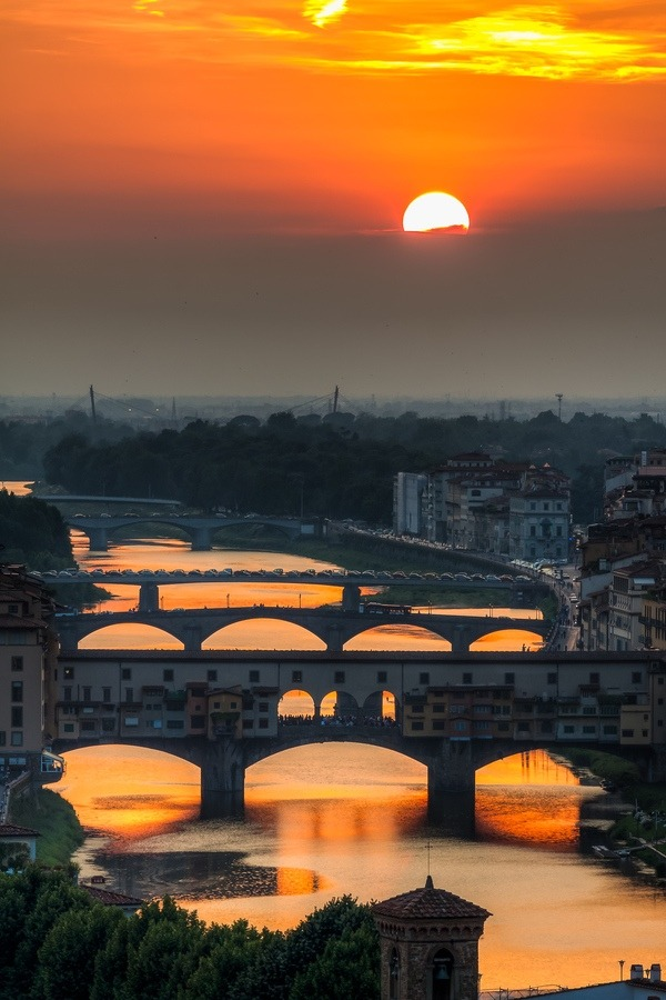 Italy, Florence - Sunset over Arno by Giuseppe Torre