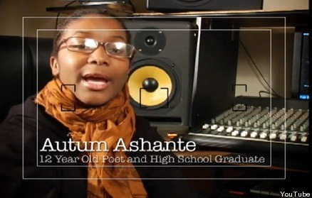 "tierracita:  dumbthingswhitepplsay:  kemetically-ankhtified:  Autum Ashante, child prodigy  (March 2006) A 7-year-old prodigy unleashed a firestorm when she recited a poem she wrote comparing Christopher Columbus and Charles Darwin to ""pirates"" and ""vampires"" who robbed blacks of their identities and human rights. Autum Ashante, who is home-schooled and lives with her father in Mount Vernon, was invited by a music teacher to present her poetry during a Black History Month program at Peekskill Middle School on Feb. 28. She has written her own poetry and performed in front of audiences since she was 4. Before reciting a poem, Ashante asked only the black students in the audience to stand and recite with her the ""Black Child's Pledge"" by the Black Panther Party's Shirley Williams. According to Newsday, when white students also stood during her recitation of the pledge, Autum asked them to sit down. It begins, ""I pledge allegiance to my black people. I pledge to develop my mind and body to the greatest extent possible. I will learn all that I can in order to give my best to my people in their struggle for liberation.""  Here's the poem:White Nationalism Put U In BondageWhite nationalism is what put you in bondagePirate and vampires like Columbus, Morgan, and DarwinDrank the blood of the sheep, trampled all over them withSteel, tricks and deceit.Nothing has changed take a look in our streetsThe mis-education of she and Hegro — leaves you on your knee2growBlack lands taken from your hands, by vampires with no remorseThey took the gold, the wisdom and all of the storytellersThey took the black women, with the black man weakMade to watch as they changed the paradigmOf our villageThey killed the blind, they killed the lazy, they wentSo far as to kill the unborn babyYeah White nationalism is what put you in bondagePirates and vampires like Columbus, Morgan, and DarwinThey drank the blood of the sheep, trampled all over them withSteel laden feet, throw in the tricks alcohol and deceit.Nothing has changed take a look at our streets.  according to the Daily News, in June of 2011, at 12 years old she was accepted into UConn but then in July, UConn said she supposedly was never accepted.  damn gurl werq it  Looking at the future  What an awesome  young person! But I would recommend being weary of going to the site and reading the authors derailing bullshit about the subject matter."