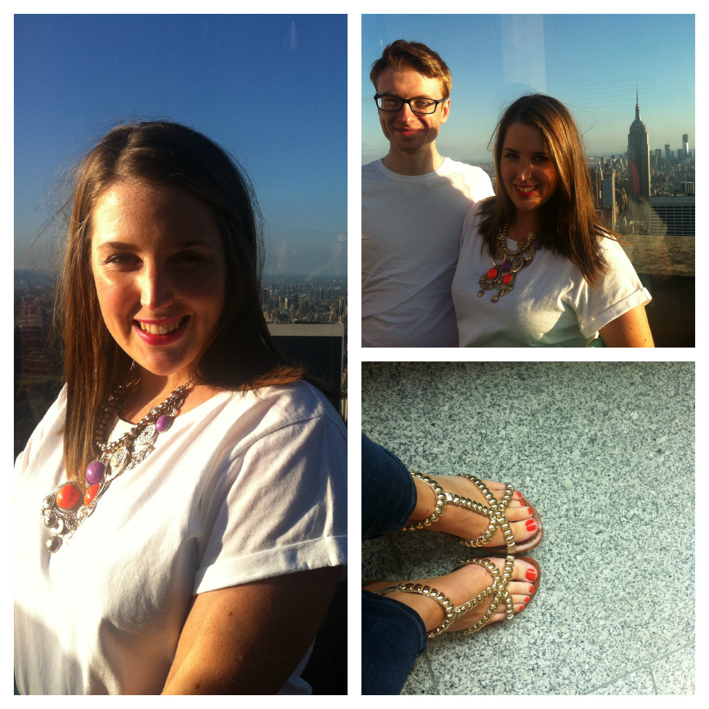 Top of the Rock…what a view! This was actually my first evening in NYC. I got this over-sized boyfriend t-shirt from ASOS and it's so handy. Stick it over jeans and pair it with a chunky necklace and you're done. There's something quite chic about a plain white t-shirt. I got the sandals in Penneys. I like how they're quite glam but they went with every outfit that I brought!  Had such a fun weekend, it was needed after a long week at work! Looking forward to beginning the summer camp that I'm coordinating which starts tomorrow. I'll finally have some structure to my week! Ps… Don't forget it's GIVEAWAY TIME! Inspired by my recent trip to New York, I have a face powder, eyeshadow and lipgloss from N.Y.C Cosmetics and a Benefit perfume to give away. It's really simple to enter, all you have to do is follow me on facebook: http://www.facebook.com/soooali and then write a comment on the Soooali facebook page so that I know you're in it to win it! The giveaway ends on the 4th of July (just to keep the theme going!) 2012….sooo get clicking!
