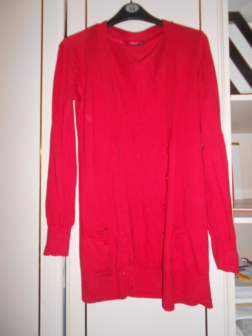 red primark, long, button cardigan, size 10 £3
