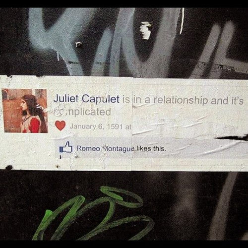 oh-so-coco:  Romeo & Juliet are in a relationship and it's complicated. (Would love to know who did this!) (Taken with Instagram)