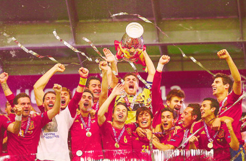 Spain the first country to win 3 major trophies in a row.  Euro 2008. World Cup 2010, and now Euro 2012
