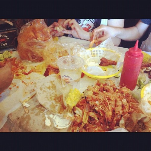 This consisted of 4 pounds of shrimp, one pound of clams, a basket of chicken wings, Cajun fries, corn cobs, and snow crab legs! I can't believe it either (Taken with Instagram)