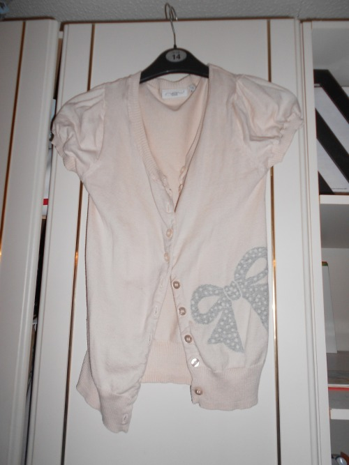 light pink, short sleeved cardigan with bow detail, new look, size 12, would fit size 10 £4
