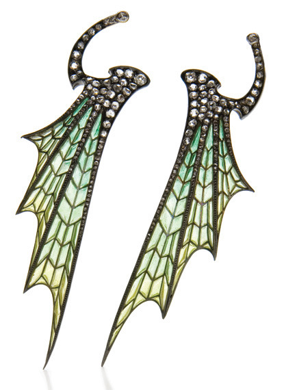 "batfullobelfries:  Pair of Art Nouveau Gold, Silver, Plique-a-Jour Enamel and Diamond Wing Hair Clip OrnamentsThe stylized wings of light blue and green plique-a-jour enamel, accented by 2 old-mine and numerous rose-cut diamonds, swivels at clip fitting.Note: Art Nouveau jewelry, at its height at the turn of the 20th century, took its inspiration from nature, as well as Japanese themes. These delicate clips demonstrate the combination of these two themes in their abstraction of flowing organic forms by using a Plique-a-Jour enameling technique. Plique-a-jour, French for "" open to light"" was a tool used by Art Nouveau jewelers to juxtapose light and dark, and create a miniature stained glass window in their creations.Property from the Kelekian Family CollectionEstimate: $4,000-6,000Sold for $21,250"