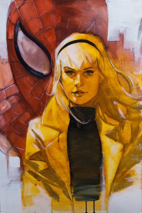 patloika:  Amazing Spider-Man/Gwen painting by Phil Noto!