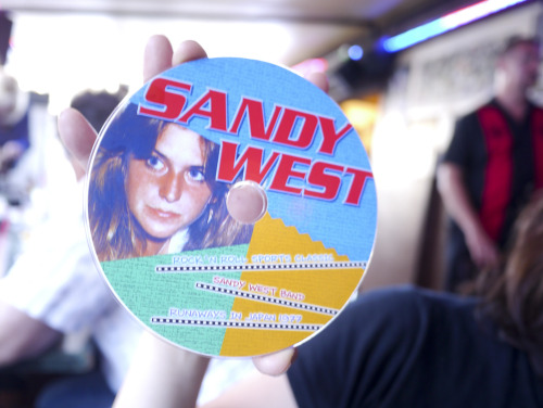 Check out this rare Japanese Sandy West CD that popped up at our dinner last night with Cherie Currie, Jack Hayes and Maudlin Strangers at The Rainbow Bar & Grill. More photos on Factory 77!  Photo by Brad Elterman/Factory 77