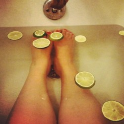 Trying a Basil & Lime infused bath to help ease this migraine (Taken with Instagram)