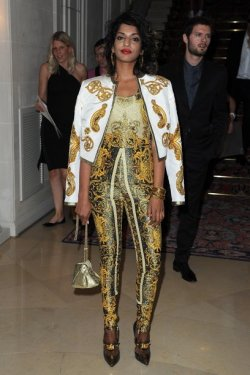 M.I.A. attend the Versace Haute-Couture show as part of Paris Fashion Week Fall / Winter 2013 at the Ritz hotel on July 1, 2012 in Paris, France. ..