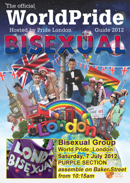 bisexual-community:  Bi group; World Pride; London There will be a bi walking group at World Pride in London this year. The parade is rainbow-themed, and we're in the purple section. I've got a couple of banners and some purple umbrellas (also usable as parasols, if the summer continues!). Please join me, and wear purple, if you can Assemble on Baker Street Saturday, 7 July 2012 from 10:15am for an 11am parade start time: we'll be towards the back of the parade/towards the northern end of Baker Street. Look for the London Bisexuals banner. N.B. Bi-friendly people are as welcome to join the group as bi people! CLICK HERE FOR MORE INFO