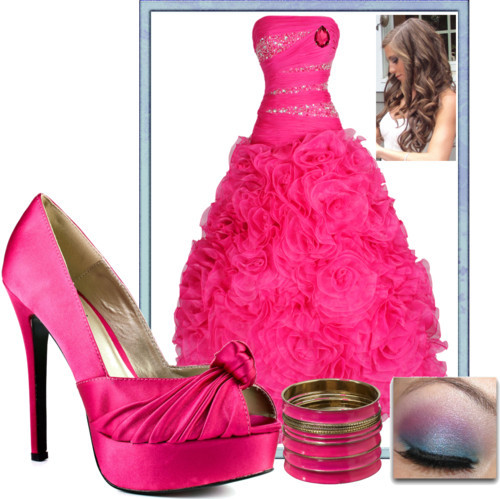 Rose Prom by chantelrivera featuring prom gownsProm gown, $300Luichiny fuchsia heels, $90Janis By Janis Savitt antique earrings, $250Jane Norman set of bangle, £15Eyeshadow