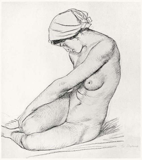 Nude study.   William Strang, from Zeichnungen von William Strang (Drawings of William Strang), with an introduction by Hans Wolfgang Singer, Leipzig, 1912.  (Source: archive.org)