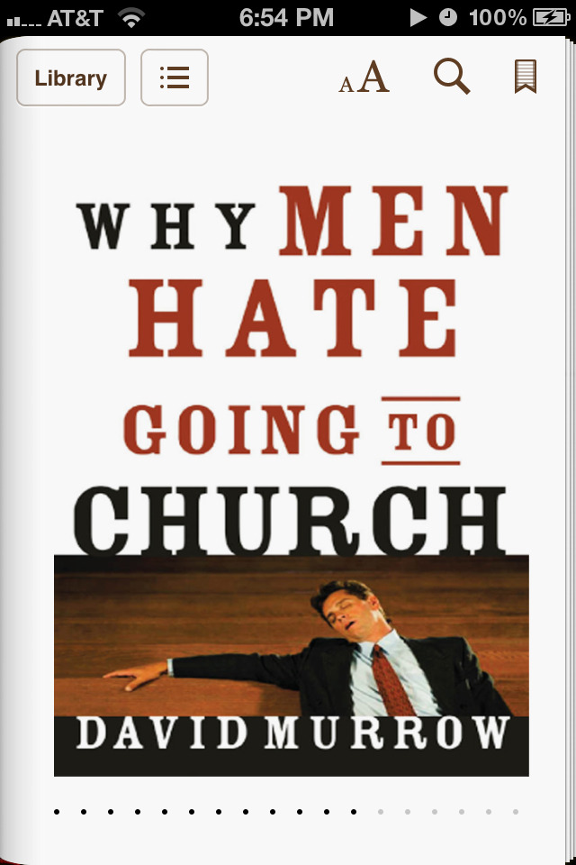 I finished this semi-controversial book (at least within Christiandom) months ago and I can say that David Murrow's analysis is spot on.   For those looking for a reader's digest, Murrow basically states that the atmosphere within churches is set towards comfort and not upon challenge.   Guys (for the most part) thrive off of challenge and institutions (whether secular or religious) that don't reflect this will usually suffer what Murrow calls a gender gap within the pews.   I'd say more but I don't want to spoil the contents. ;-)