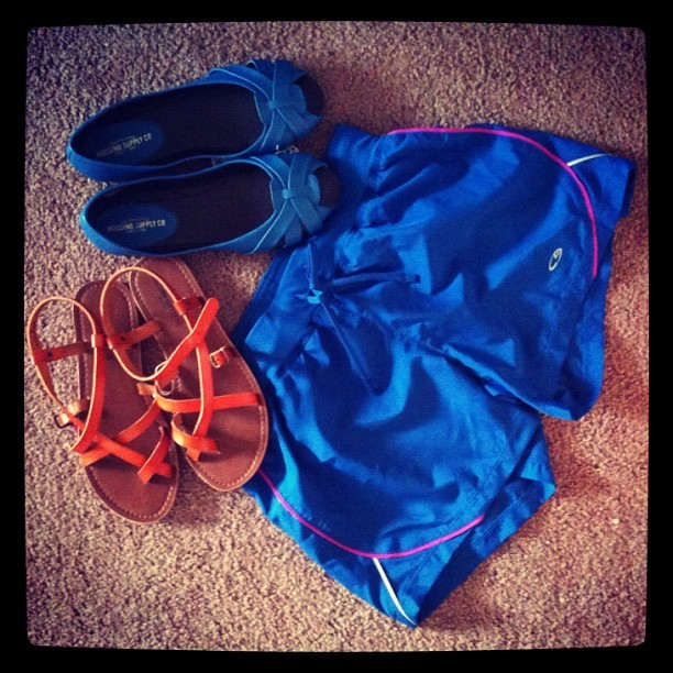 new sandals, flats, and running shorts. thank you @joshuamrobinson! #gogators (Taken with Instagram)