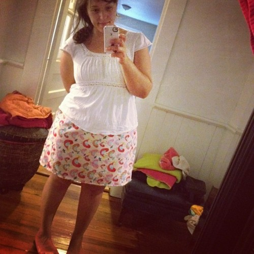 Learning how to #sew - I made my first skirt today!  #crafts #imadethis  (Taken with Instagram)