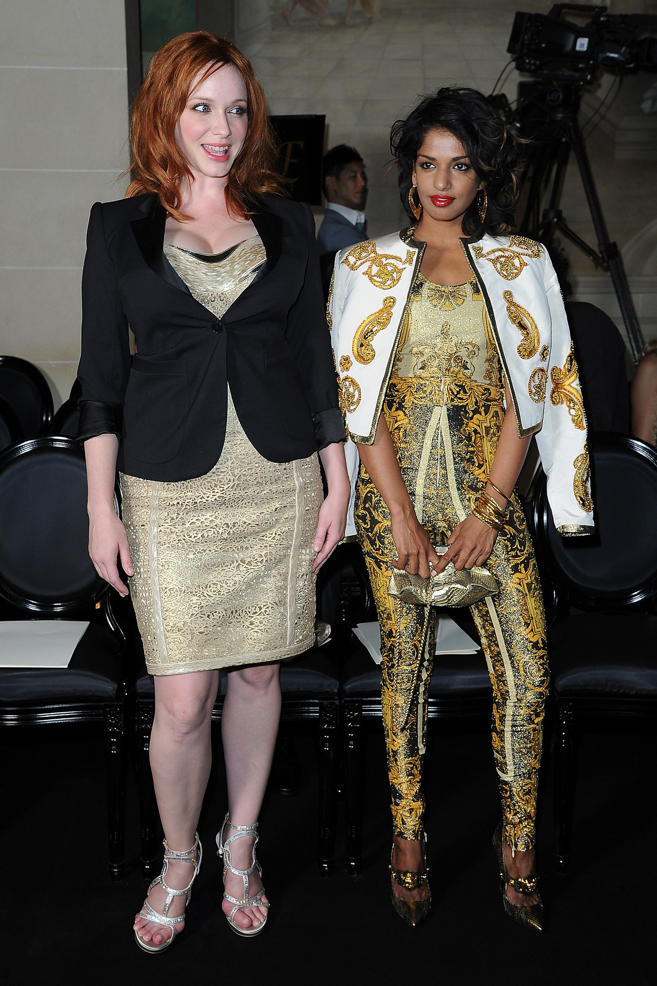 Christina Hendricks and M.I.A. at the Atelier Versace Fall/Winter 2012 show in Paris, July 1st