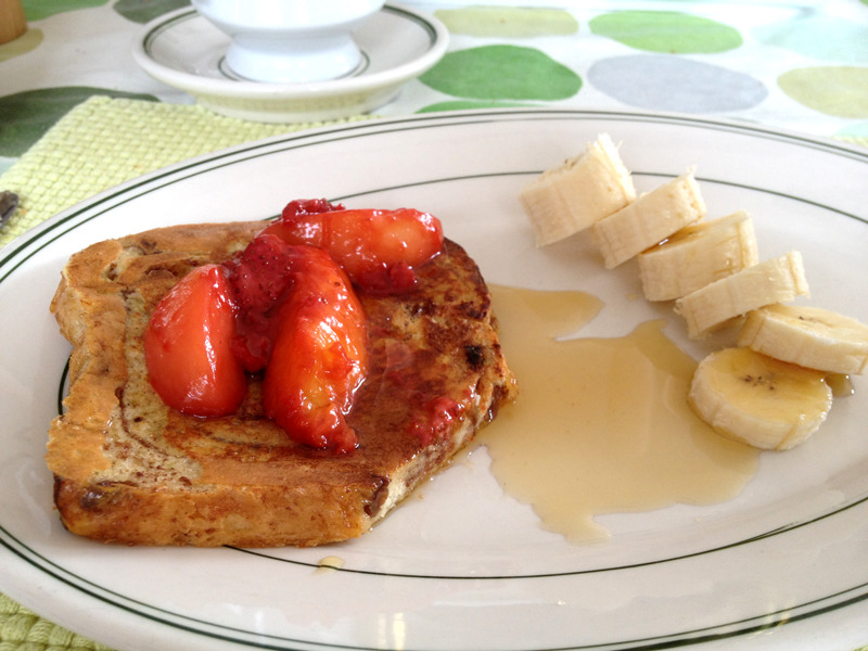 A Collaboration to a Massacre: French Toast with Bloody Nectarines Mom and I were busy in the kitchen last Sunday morning. She made the French toasts and bacon and I made the sautéed nectarines. I used the recipe from The Red Spoon as a guide for making my own, adapting the proportions to suit only two nectarines instead of the five to six originally called for. Bloody Sautéed Nectarines Adapted from The Red Spoon 2 nectarines—peeled and sliced (I used both a yellow and white) 3/4 cup of strawberries—thickly sliced lengthwise 1 tablespoon of unsalted butter 1 tablespoon of brown sugar 1 tablespoon of lemon juice 1/2 teaspoon of vanilla extract Melt butter in a small skillet over medium heat, then add the nectarines and strawberries. Wait until they are sizzling and the juice they release becomes thickened before adding the sugar, lemon juice and vanilla extract. The strawberries, depending on their ripeness, may not survive intact. If you'd like your strawberries to remain in whole slices, add them later on with the lemon juice, sugar and vanilla. However, their breaking down into a sort of preserve made the nectarines really pretty :D