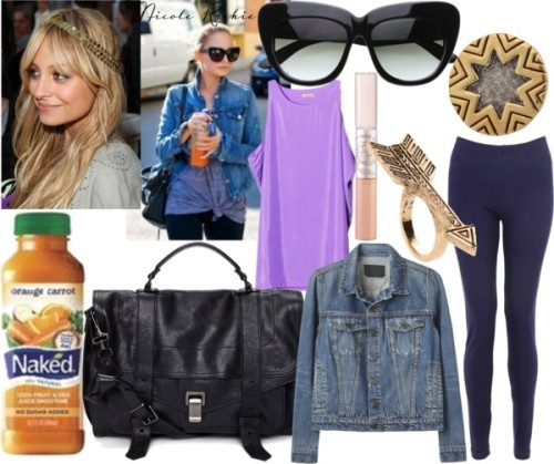 Nicole by emsaxx featuring a black satchel handbagPurple top, $53Proenza Schouler vintage jean jacket, $495American Apparel elastic waist pants, £33Proenza Schouler black satchel handbag, $1,995House of Harlow 1960 rose gold antique ring, $59House of Harlow 1960 14k jewelry, $55House of Harlow 1960 cat eye sunglasses, $138Cat eye sunglasses