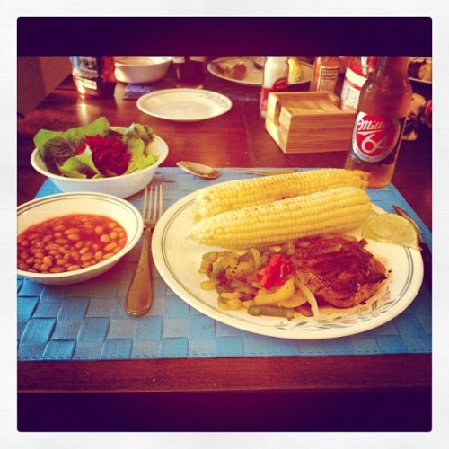 Big Sunday Dinner:  Gingered Beet Salad, Heinz 57 Beans in Tomato Sauce, Corn with Lime and Chipotle, Mushroom Steak with Peppers and Onions.   And Beer!  #vegan #vegetables #whatveganseat #mushrooms #beer #corn #beans #beets (Taken with Instagram)