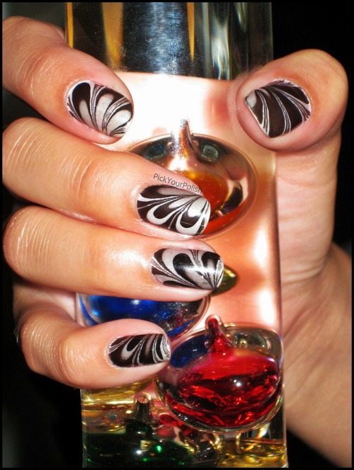 Throwback: Black and Pearl White Water Marble Nails View Post shared via WordPress.com