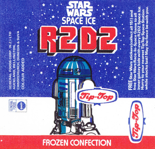 1977 :: R2-D2 Space Ice wrapper. http://swnz.dr-maul.com/moretext.php?request=coll_r2spaceice