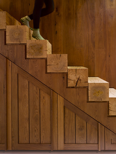 stairsarecool:  Hogarth Architects' take on wooden stairs.