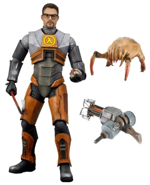 saveroomminibar:  NECA's official Gordon Freeman action figure revealed. The first ever action figure from one of Valve's most successful games of all time, Half Life 2.Gordon Freeman is the heroic lead character and stands nearly 7″ tall with over 20 points of articulation.Gordon features 2 sets of interchangeable hands, crowbar, bugbomb, and gravity gun accessories along with a headcrab figure accessory. Loads of detail, articulation and accessories, everything a Half Life fan could want is included in this figure  At last, the silent, alien-killing nuclear physicist has been incarnated as an action figure! My desk may require this… :)