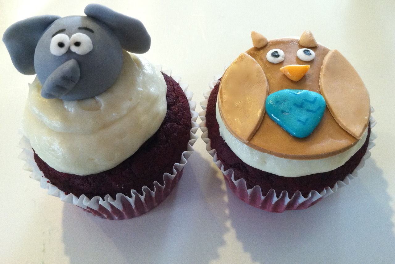 Owl and Elephant Cupcakes