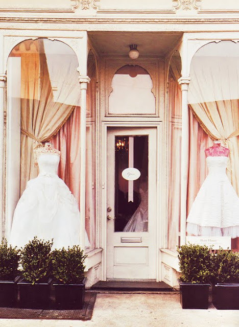 Dresses in the window.