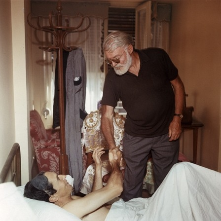 Ernest Hemingway greets Luis Miguel Dominguin in Spain. via The Ernest Hemingway Collection